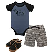 Yoga Sprout Baby Bodysuits, Shorts and Shoes Set, Little Man, 6-9 Months (9M)