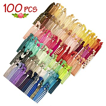 Amazon.com   JLIKA Elastic Hair Ties (Set Of 100) Colorful Prints and  Solids e36df61d6c5