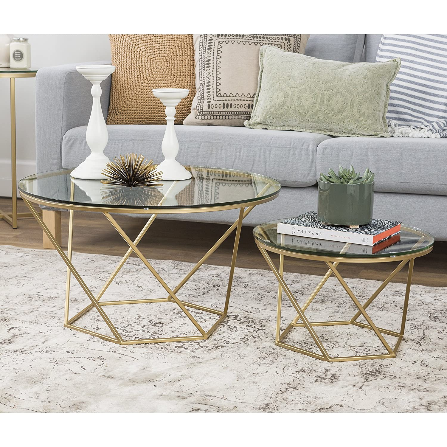 Amazon Set 2 Bronze Gold Nesting Coffee Tables