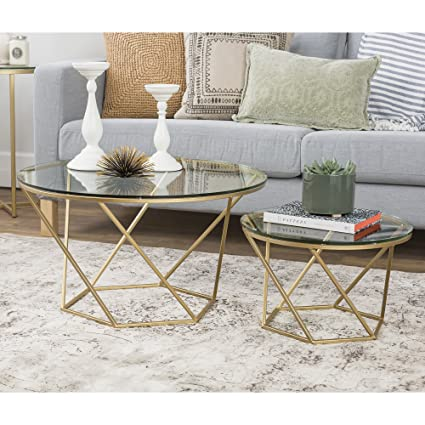 Ordinaire WE Furniture Geometric Glass Nesting Coffee Tables   Gold, Glass/Gold