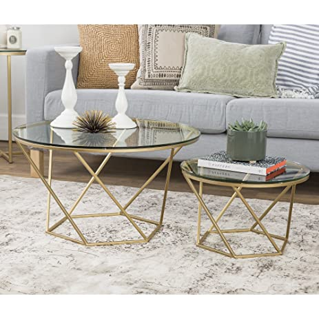 Amazoncom WE Furniture Geometric Glass Nesting Coffee Tables