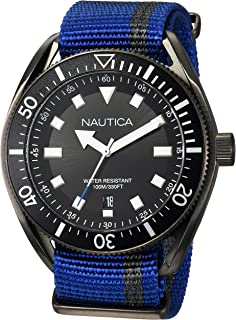 Nautica Mens Portofino Stainless Steel Japanese-Quartz Watch with Nylon Strap, Blue, 22