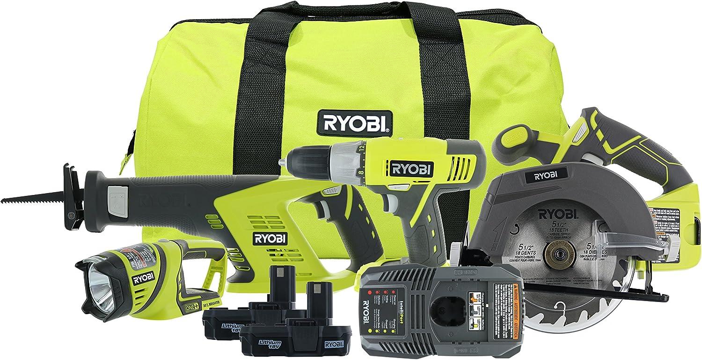 Recip Saw Circ Saw Impact Driver 2 Light, Charger Ryobi 18-Volt ONE+ Li-Ion 5-Tool Combo Kit with Drill 1.5Ah Batteries