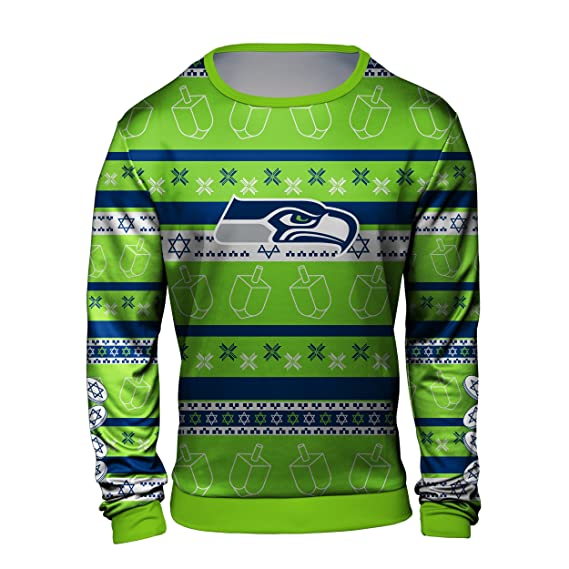 Amazon.com   Forever Collectibles NFL Men s Hanukkah Printed Ugly Crew Neck  Sweater Shirt 457f0d8c4