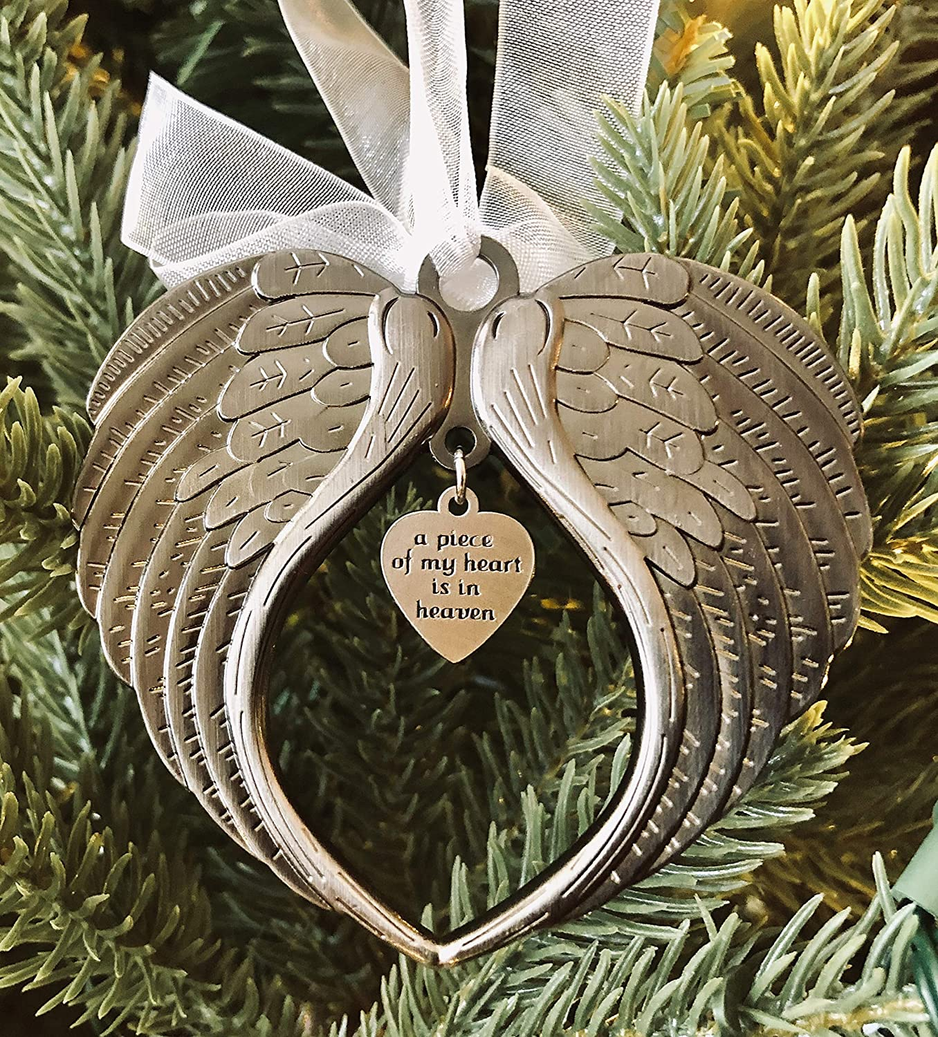 K9King Christmas Ornaments Angel Wings - A Piece of My Heart is in Heaven Ornament for Christmas Tree - Double Sided Memorial Ornament for Loss of Loved One - Luxurious Silk Ribbon & Red Gift Bag