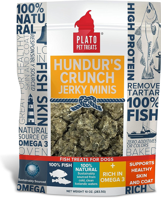 PLATO Hundur's Crunch Jerky Minis 10oz, Natural (859554001397)