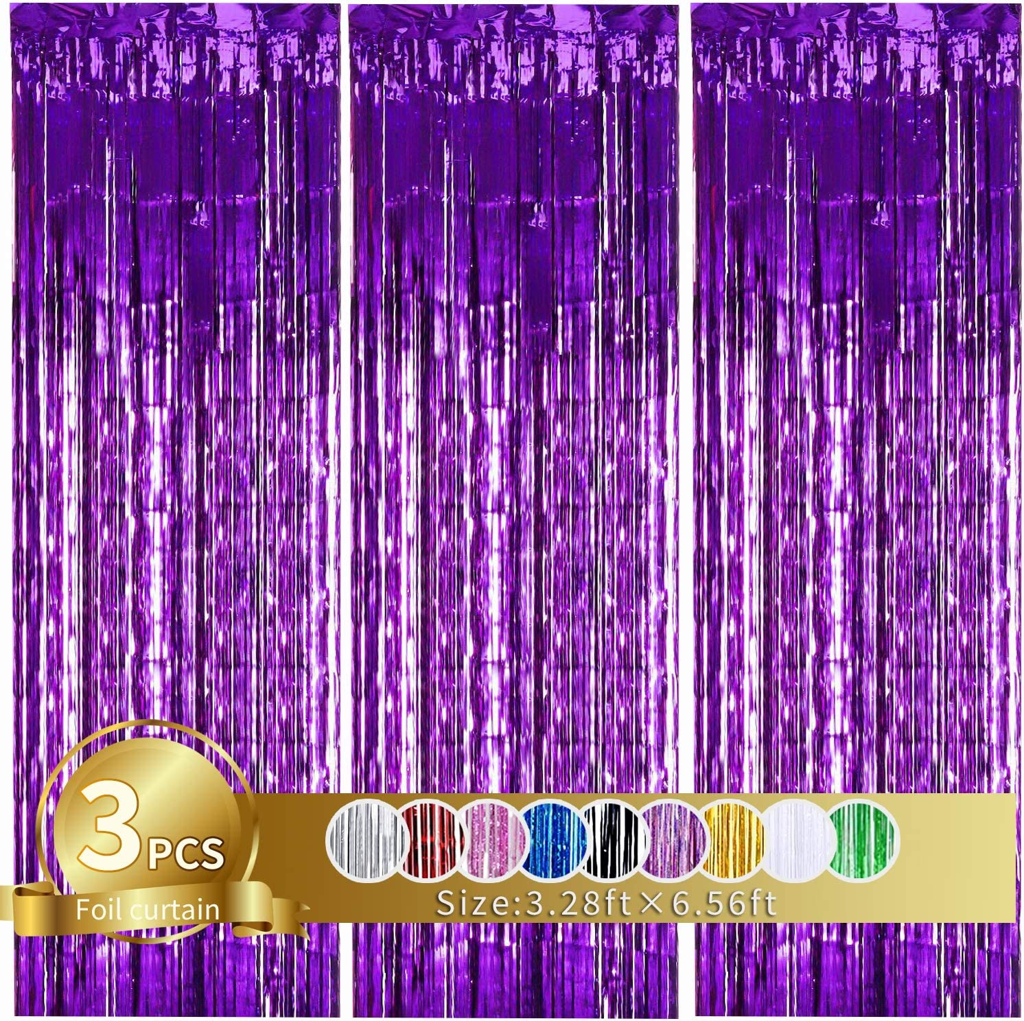 3Pcs Purple Metallic Tinsel Foil Fringe Curtains,3.28 x 6.56ft Purple Photo Booth Backdrop Curtain,Photo Booth Props,Ideal Bachelorette Party Supplies,Birthday,Graduation,Christmas,New Year Decor