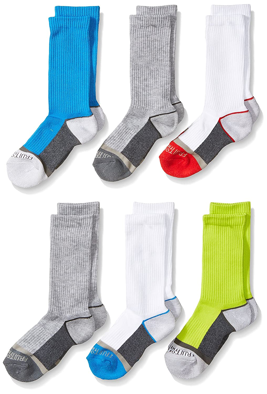 Fruit of the Loom Big Boy's 6 Pack Sport Crew Socks B4867BA6-C