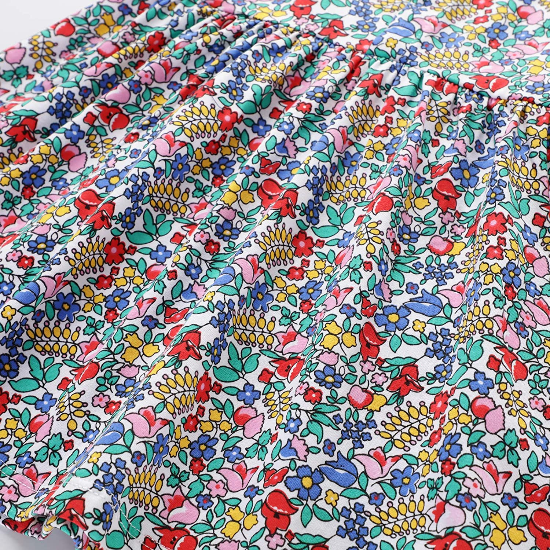 Dress Kids Girls Flowers Vintage Floral T-Shirt Dress with Collar Short Sleeve Princess Dress Toddler Party Dresses Swing Pockets Embroidered Cotton Tutu Top Dress Little Girls Age Size 2 3 4 5 6 7