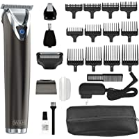 Wahl Clipper Slate Stainless Steel Lithium Ion Plus Beard Trimmers for Men, Electric Shavers, Nose Ear Trimmers, Rechargeable All in One Men's Grooming Kit, by the Brand used by Professionals, 9864