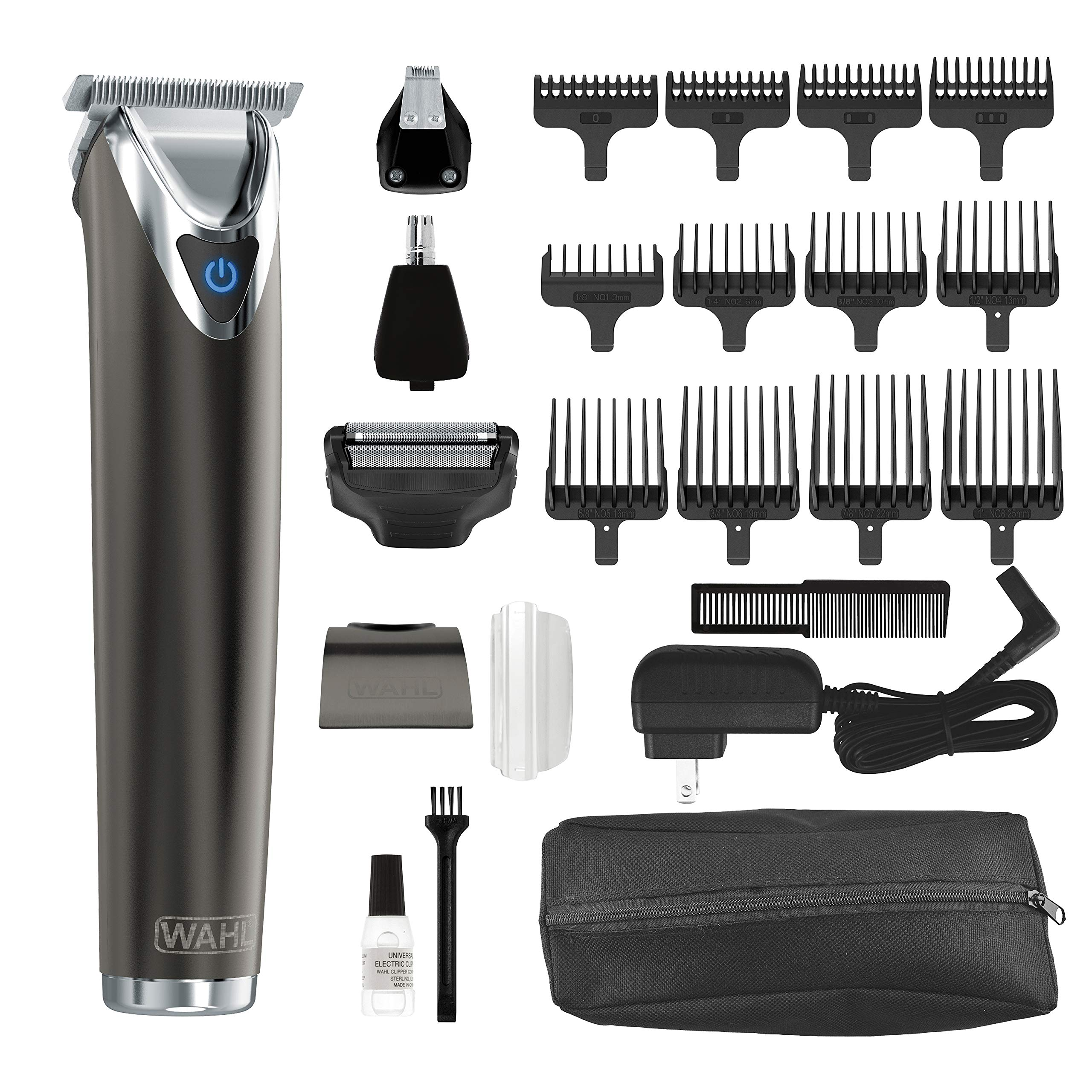 Wahl Stainless Steel Lithium Ion 2.0+ Slate Beard Trimmer for Men - Electric Shaver, Nose Ear Trimmer, Rechargeable All in One Men's Grooming Kit - Model 9864 by WAHL