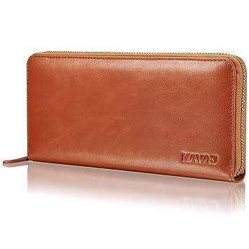 8cdc38705175e KAVAJ Damen Geldbörse Portemonnaie Leder Vienna schwarz oder Cognac braun. Portmonee  Geldbeutel aus Echtleder für