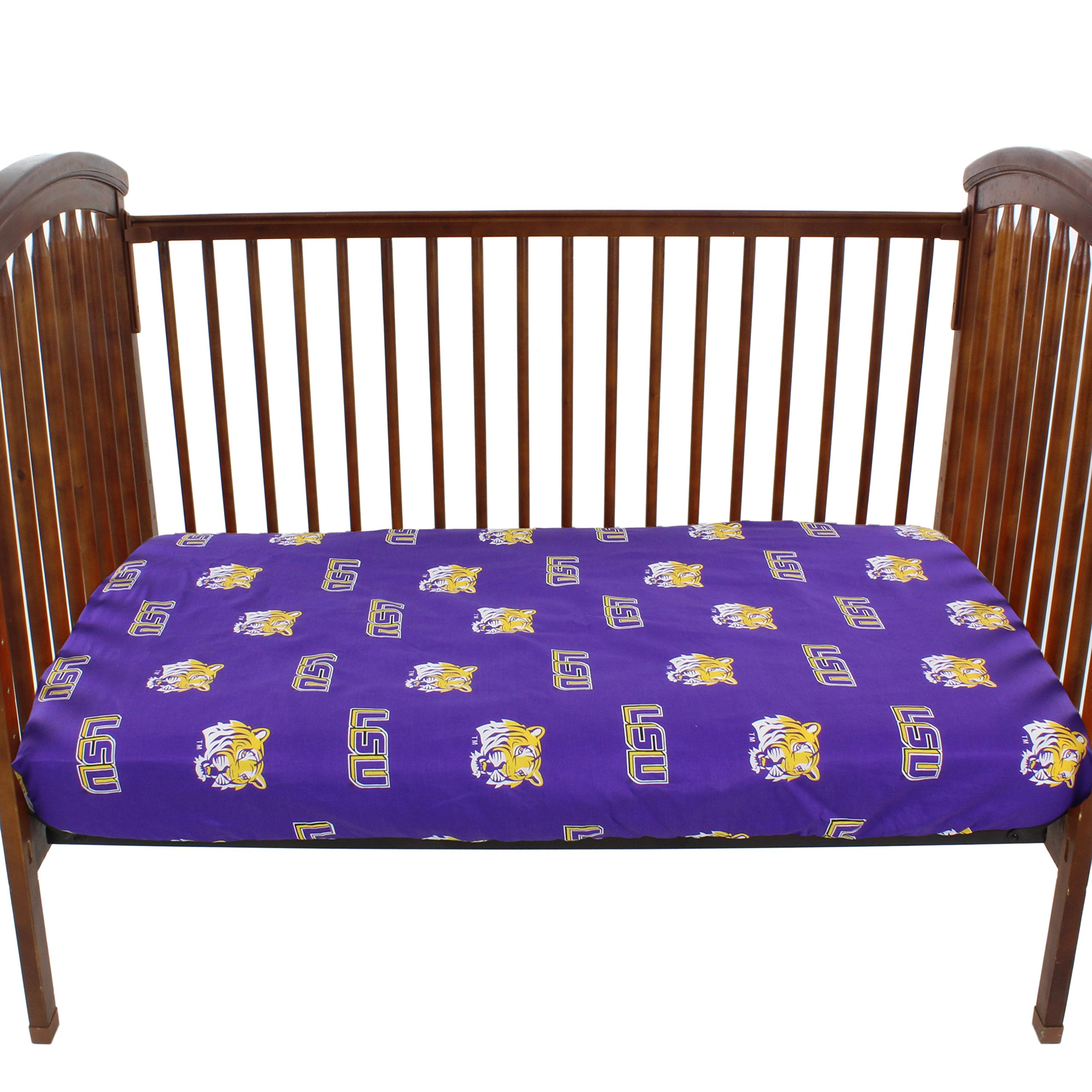 College Covers Louisiana State Tigers Baby Crib Fitted Pair of Solid Sheet