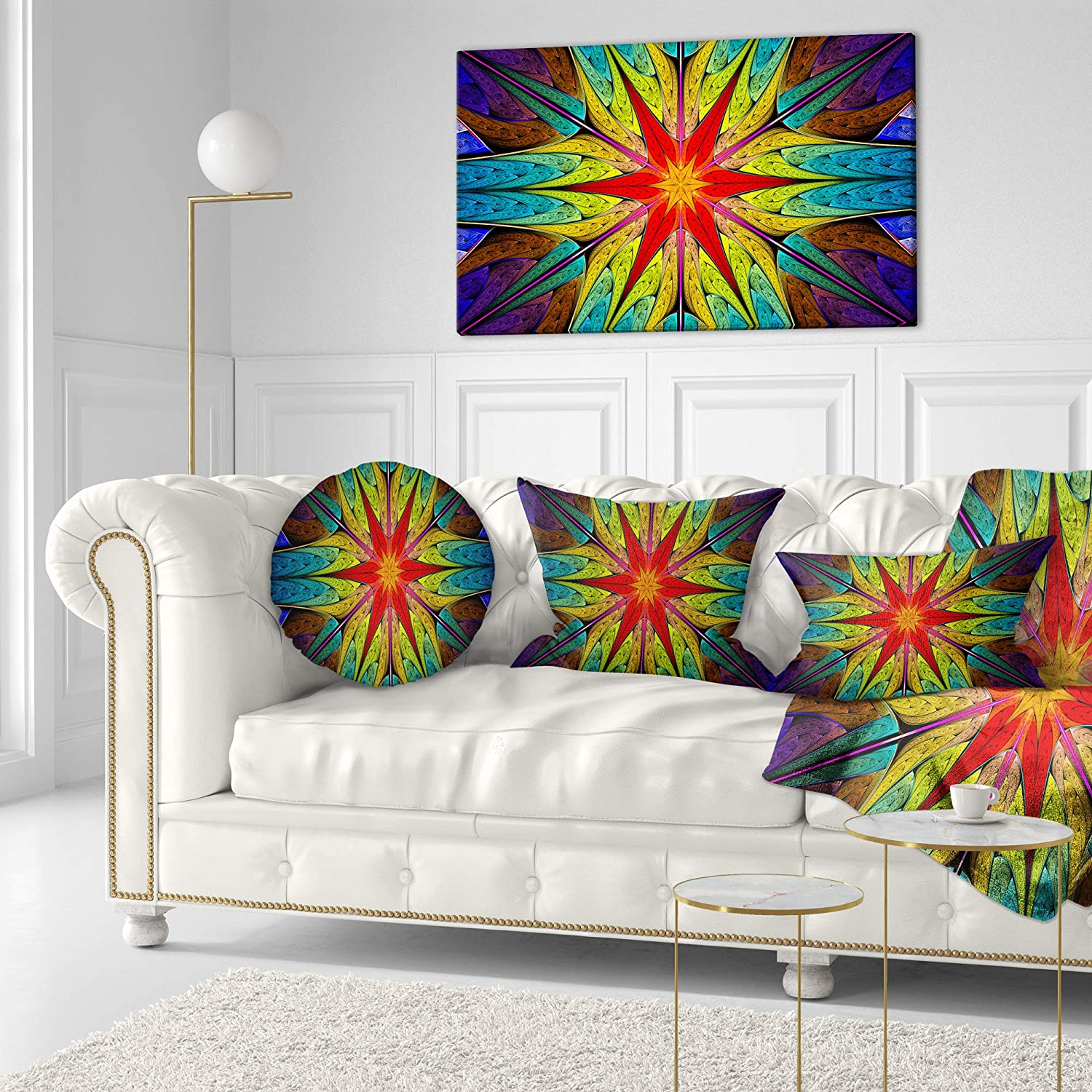 Insert Printed on Both Side Designart CU15857-20-20-C Stained Glass with Bright Red Star Abstract Round Cushion Cover for Living Room Sofa Throw Pillow 20 Inches
