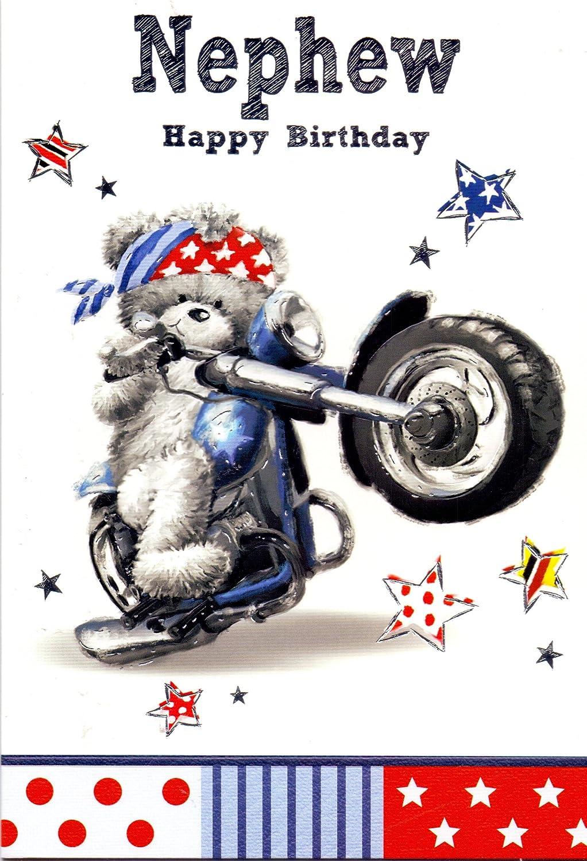 Nephew Happy Birthday Biker Bear Birthday Card Amazoncouk – Motorbike Birthday Cards