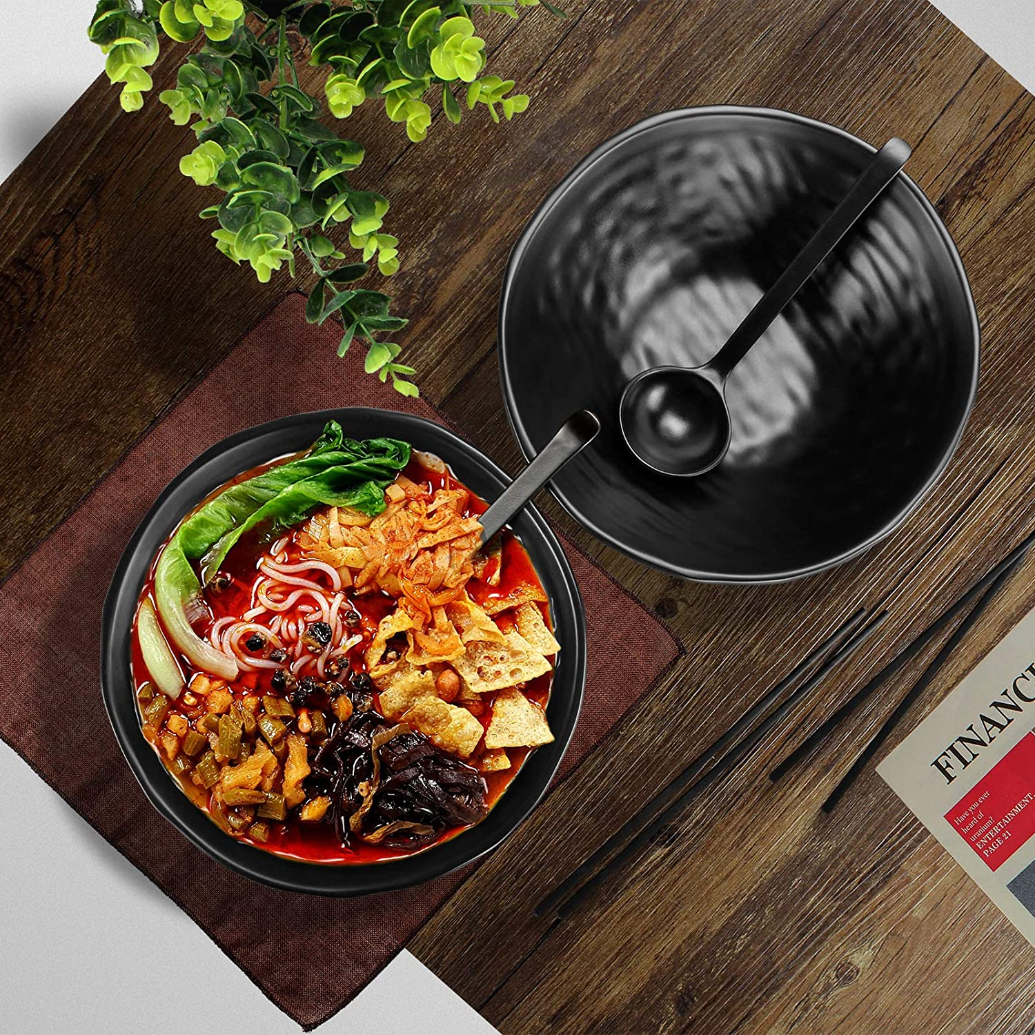 6 Pieces for Udon Japanese Noodle Soup Bowls 2 Sets Alad and Noodles 1500ml Ramen Bowls with Matching Spoon and Chopsticks