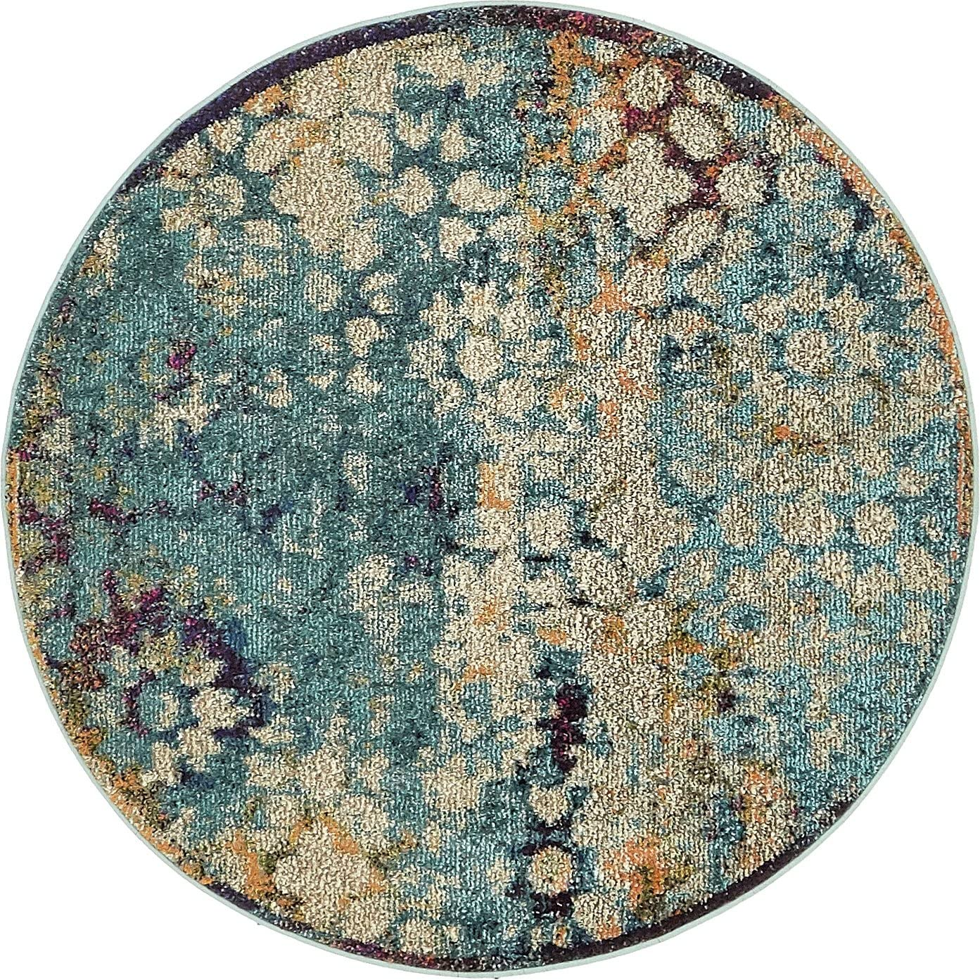 Unique Loom Vita Collection Traditional Over-Dyed Vintage Blue Round Rug 4 0 x 4 0