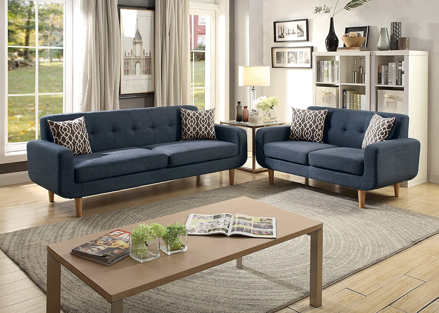 Amazon.com: Dark Blue Dorris Fabric 2pc Sofa Set Sofa And ...