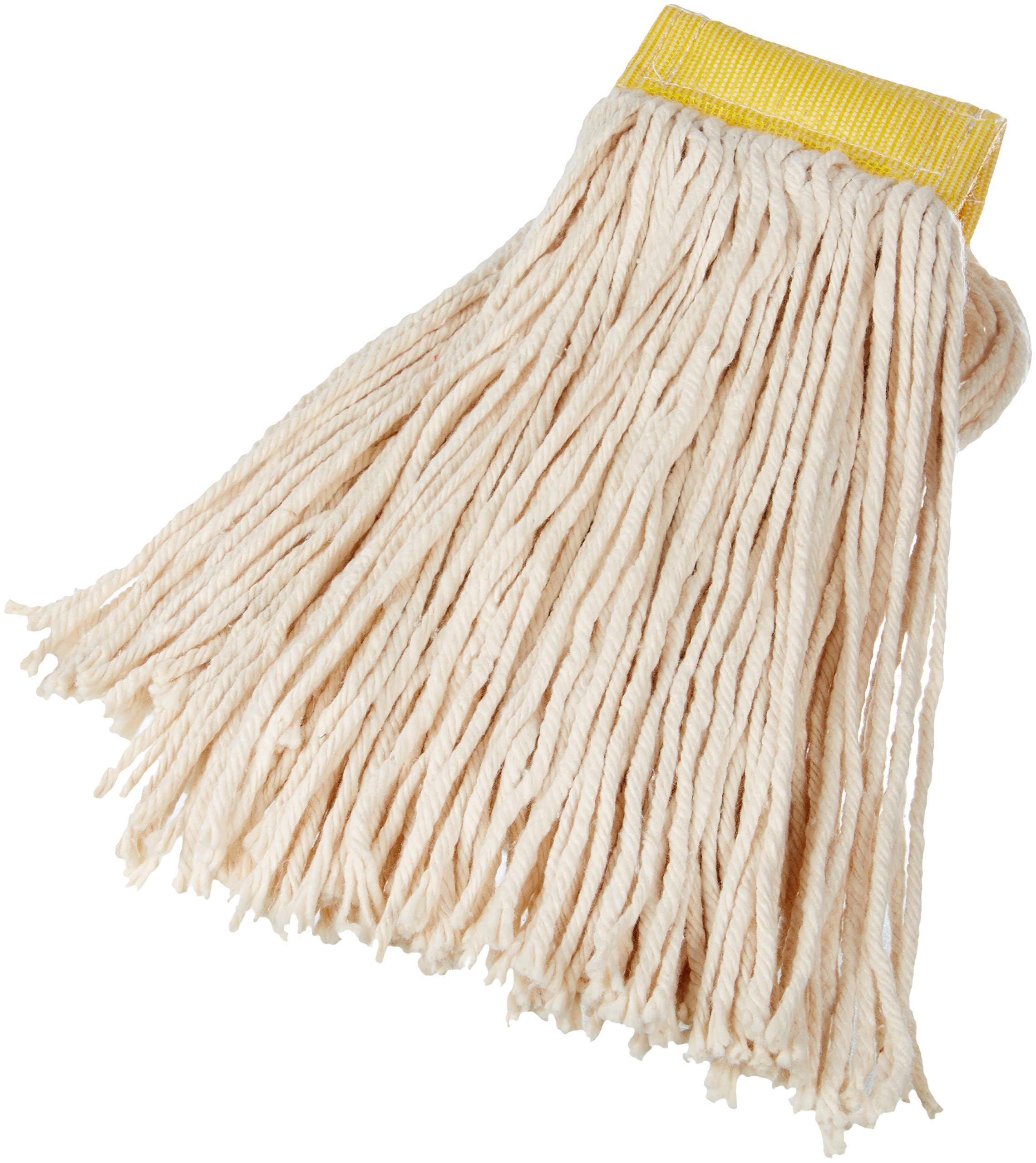 AmazonBasics Cut-End Cotton Mop Head, 5-Inch Headband, Large, White - 6-Pack