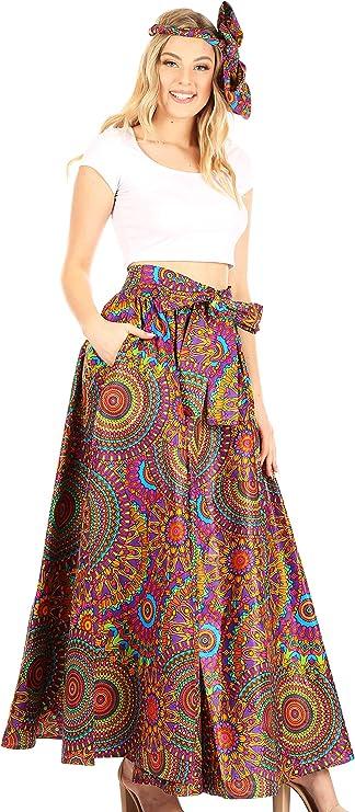 Sakkas Ami Frauen Maxi Long African Ankara Print Rock Taschen /& elastischer Bund