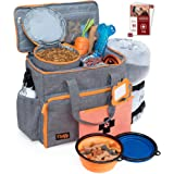 Dog Travel Bag Week Away/Overnight Accessories Organizer - Pet First Aid Pouch - Airline Approved - 2 Food Storage…