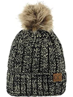 b932111d06bf6 C.C Thick Cable Knit Faux Fuzzy Fur Pom Fleece Lined Skull Cap Cuff Beanie