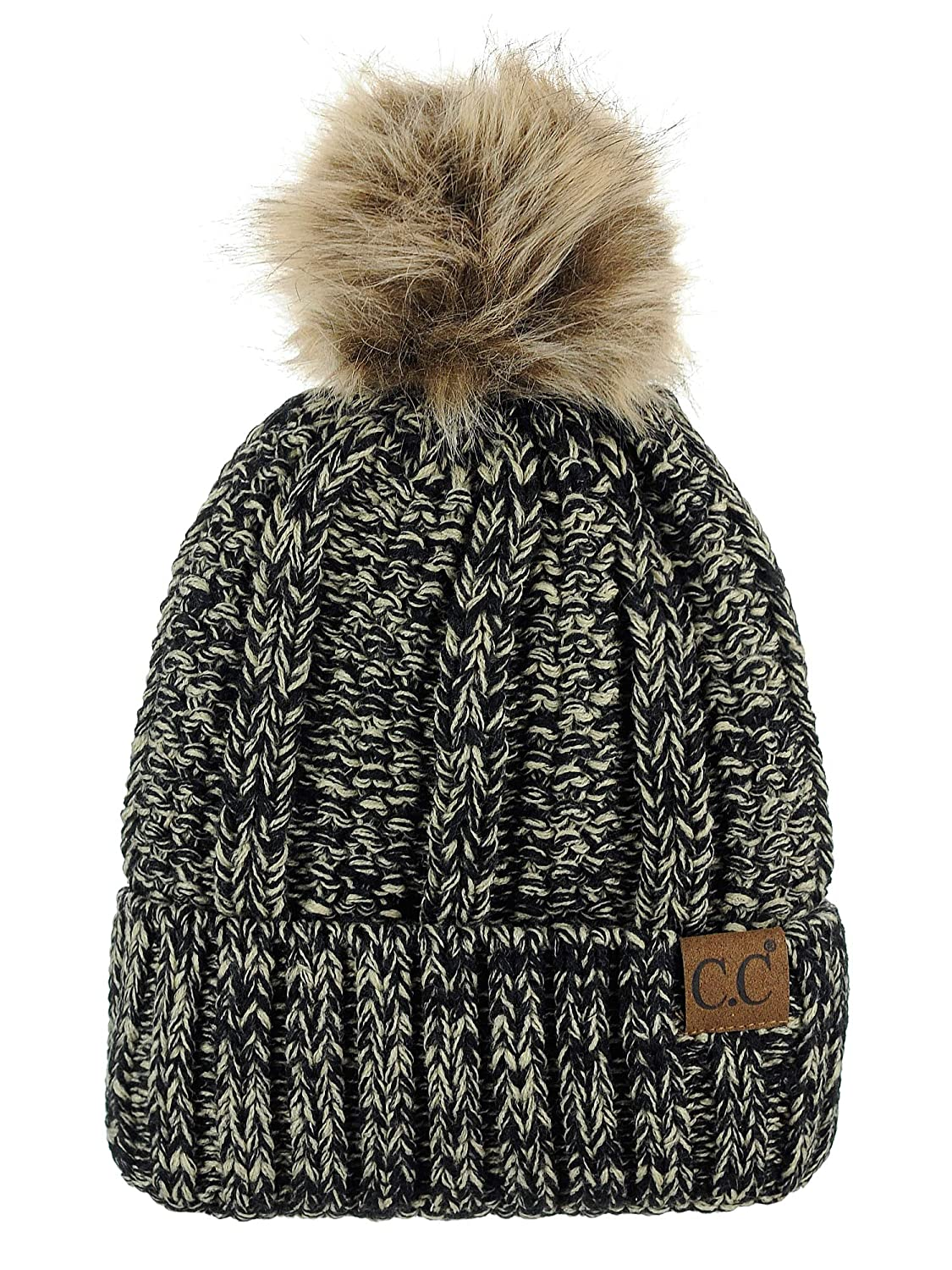 C.C Thick Cable Knit Faux Fuzzy Fur Pom Fleece Lined Skull Cap Cuff Beanie f554e689025
