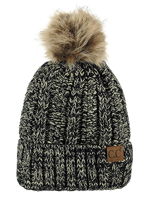 7491a726ffa C.C Thick Cable Knit Faux Fuzzy Fur Pom Fleece Lined Skull Cap Cuff Beanie