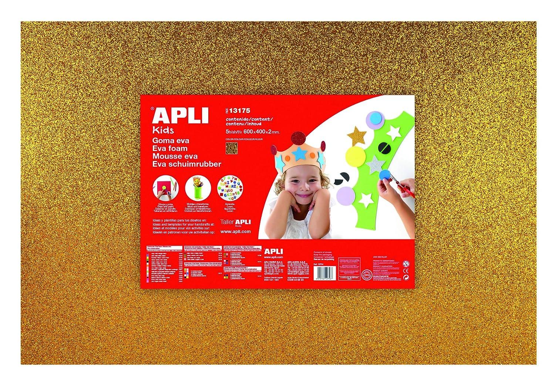 APLI Kids - Bolsa goma EVA purpurina verde, 400x600x2mm 3 hojas: Amazon.es: Oficina y papelería