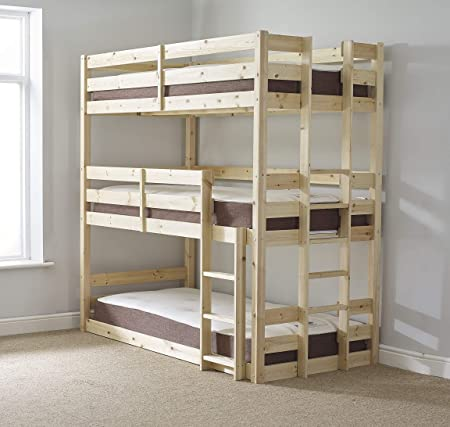 Strictly Beds And Bunks Limited 3 Tier Triple Bunkbed With Three Mattresses 3ft Single Triple Sleeper Bunk Bed Very Strong Bunk Contract Use