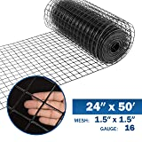 Fencer Wire 16 Gauge Black Vinyl Coated Welded Wire Mesh Size 1.5 inch by 1.5 inch