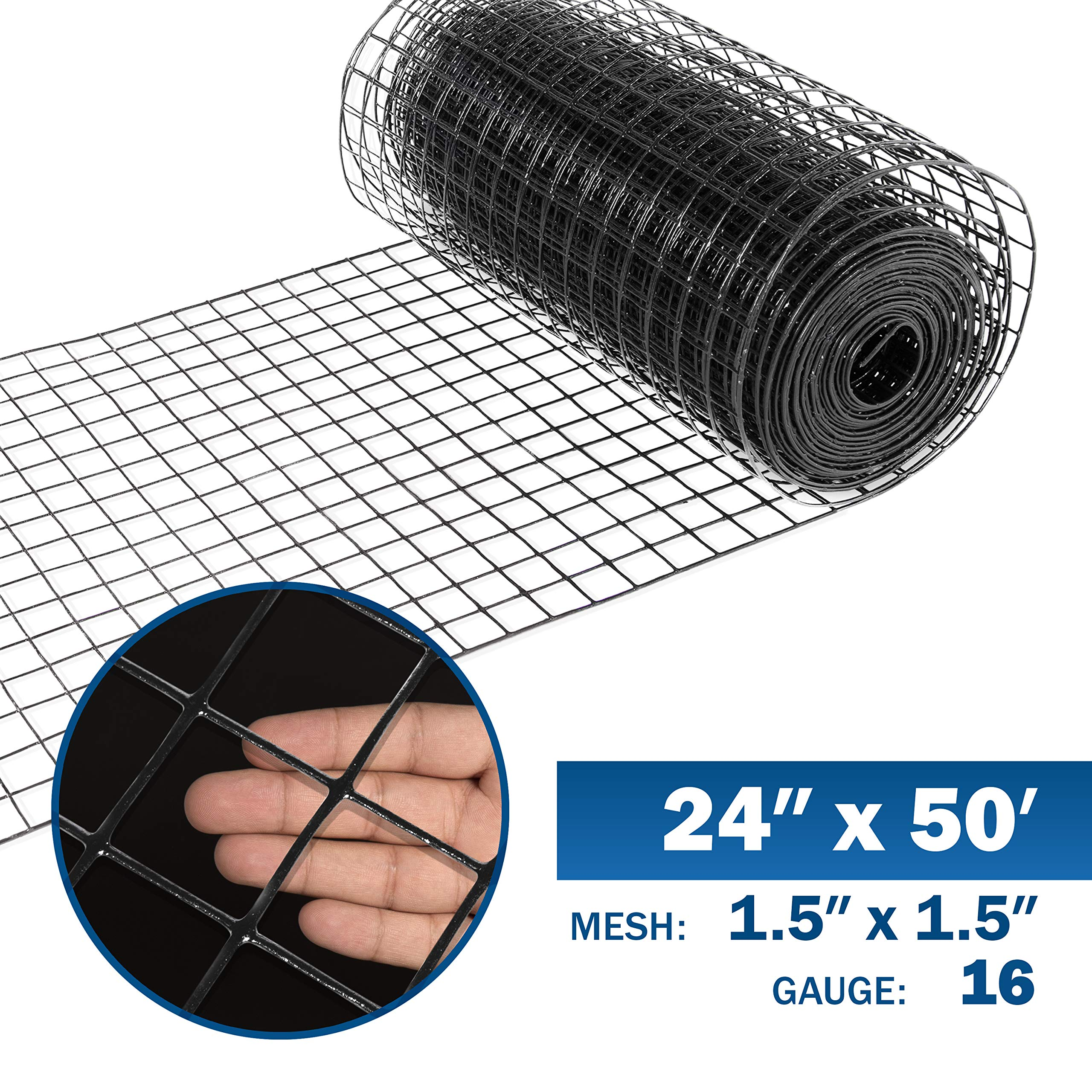 Fencer Wire 16 Gauge Black Vinyl Coated Welded Wire Mesh Size 1.5 inch by 1.5 inch (2 ft. x 50 ft.) by Fencer Wire