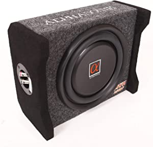 Alphasonik AS8DF 8 inch 600 Watts 4-Ohm Down Fire Shallow Mount Flat Enclosed Sub woofer for Tight Spaces in Cars and Trucks, Slim Thin Loaded Subwoofer Air Tight Sealed Bass Enclosure