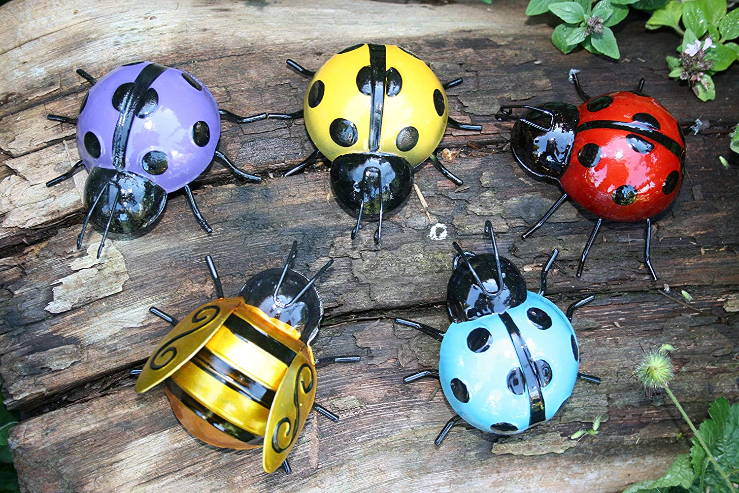 SET OF FOUR COLOURFUL LADYBIRDS AND A BEE WALL ART FOR HOME/GARDEN Fountasia