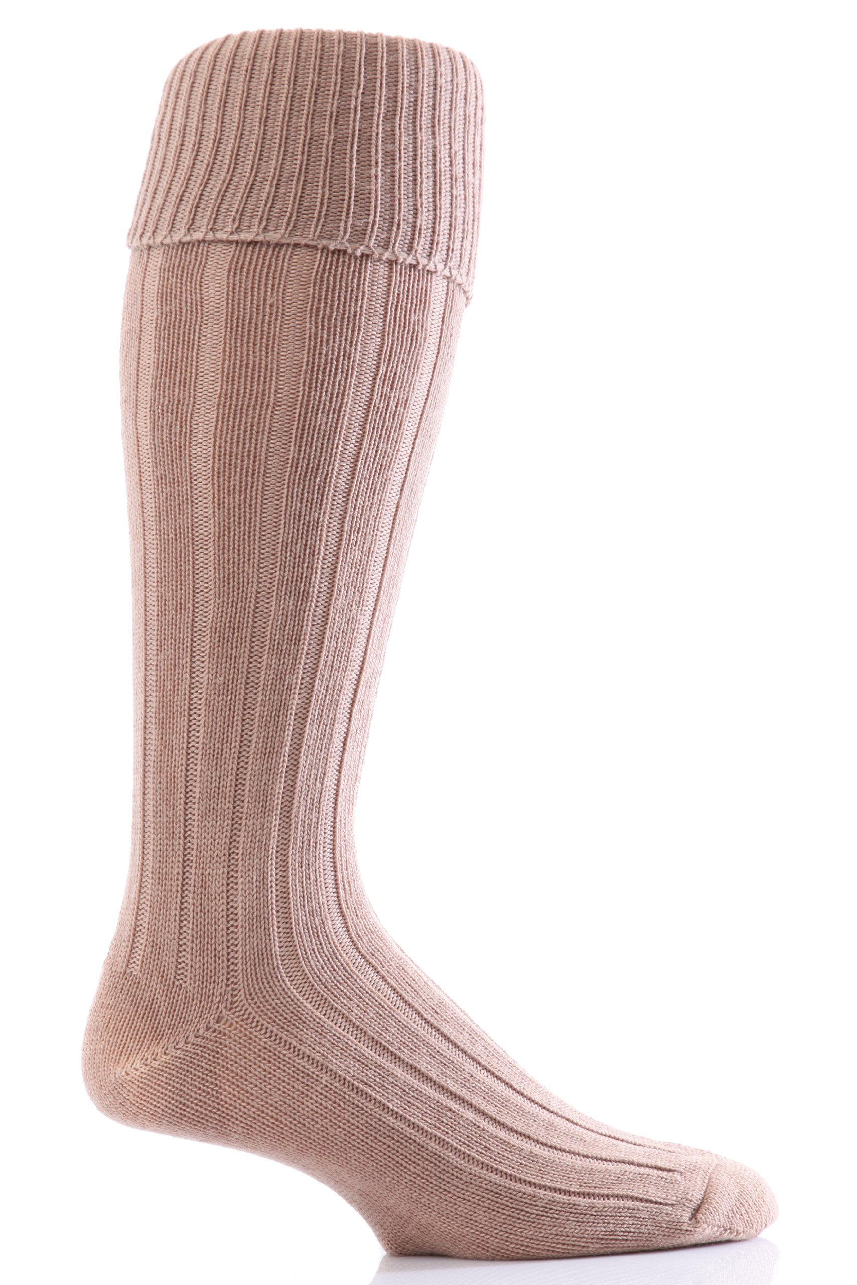 Glenmuir Men's 1 Pair Birkdale Golf Wool Knee High Socks with Turn Over Cuff 8-12 Fawn by Glenmuir