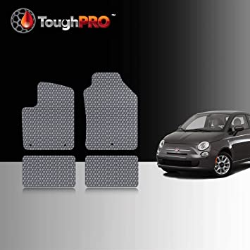 2020 - Black Rubber All Weather 2019 Made in USA 2014 Compatible with Fiat 500 Front Row + 2nd Row 2016 2018 TOUGHPRO Floor Mat Accessories Set Heavy Duty - 2013 2017 2015 2012