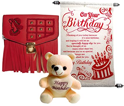 Buy Siddhi Gifts Happy Birthday Scroll Greeting Card Girls Sling Bag With Soft Teddy Online At Low Prices In India