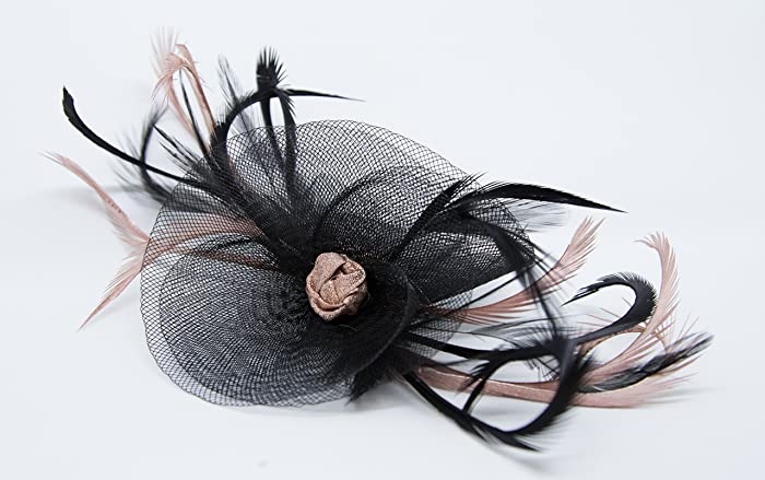 Navy blue fascinator with Rose Gold on a comb  Amazon.co.uk  Handmade 840d2925c73