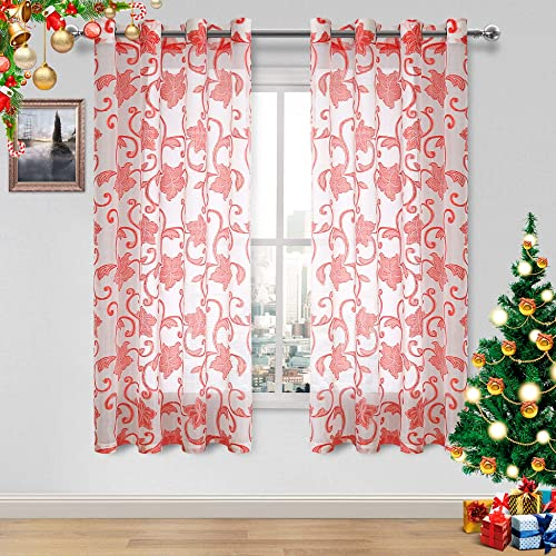 DWCN Faux Linen Sheer Curtains – Semi Voile Floral Jacquard Grommet Top Curtains for Bedroom and Living Room, Set of 2 Wnidow Curtain Panels, 52 x 63 Inch, White and Red