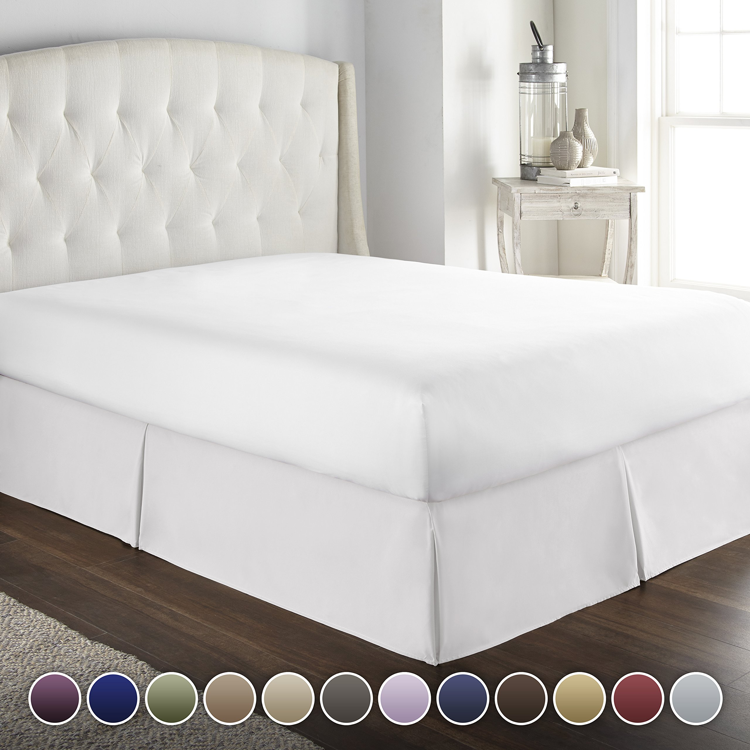 HC COLLECTION Hotel Luxury Bed Skirt/Dust Ruffle 1800 Platinum Collection-14 inch Tailored Drop, Wrinkle & Fade Resistant, Linens (Queen, White)