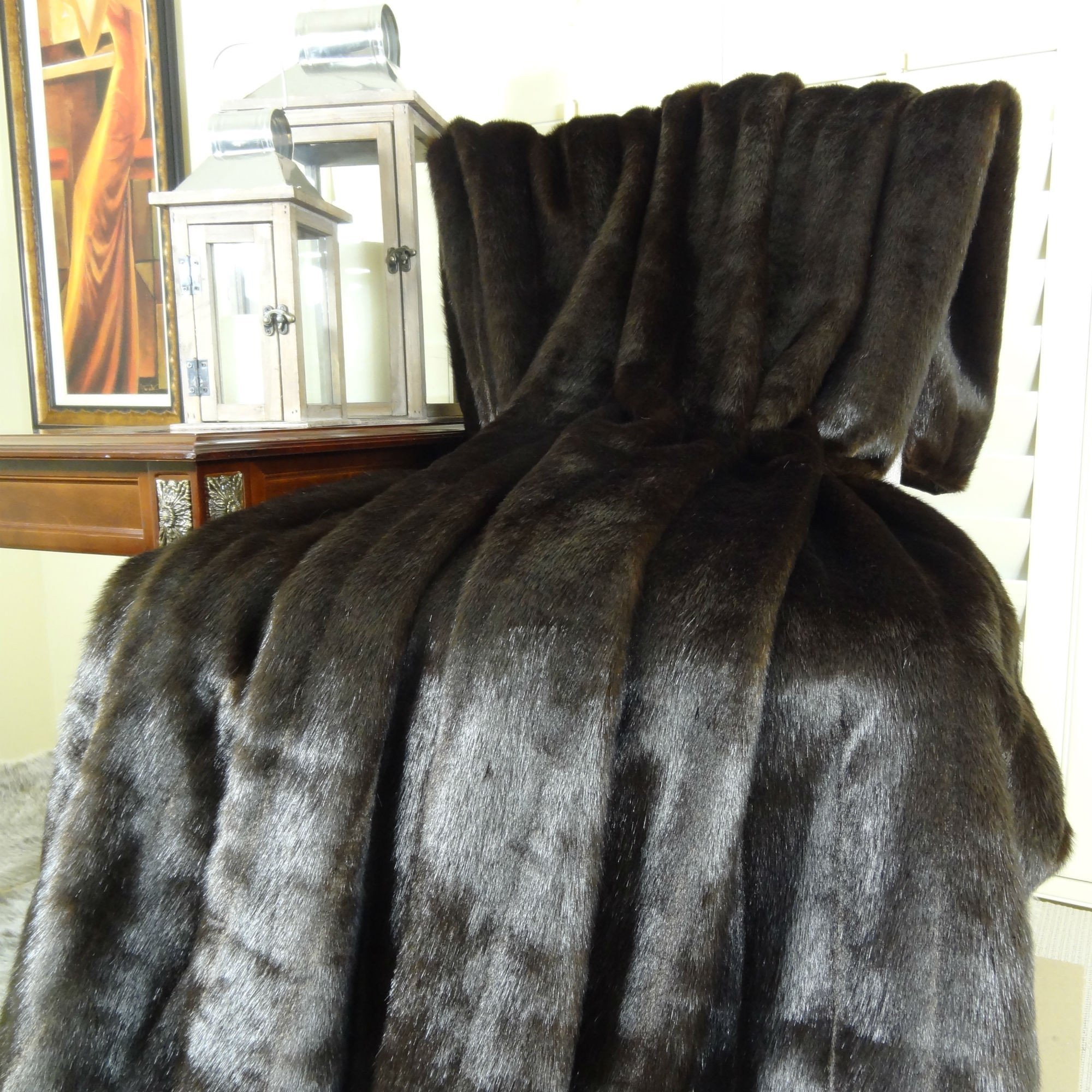 Thomas Collection faux fur bedspread, handmade throw blanket, Luxury Dark Brown Chocolate Mink Faux Fur Throw Blanket & Bedspread, Luxury Mink Fur, Made in America, 16425 by Thomas Collection