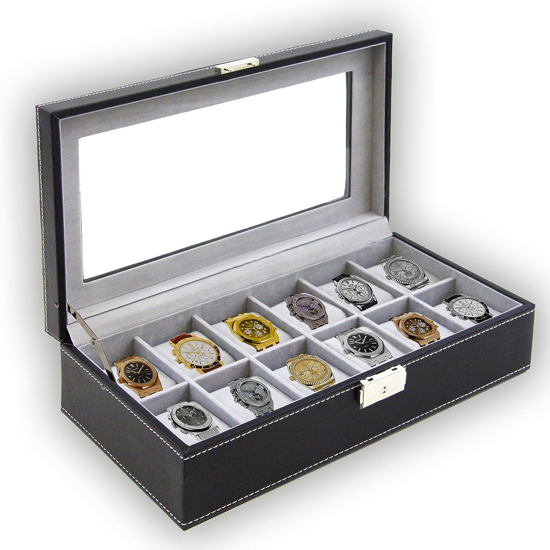 時計ボックス大12メンズブラックレザー表示ガラストップジュエリーケースオーガナイザー B00BHMNFS4