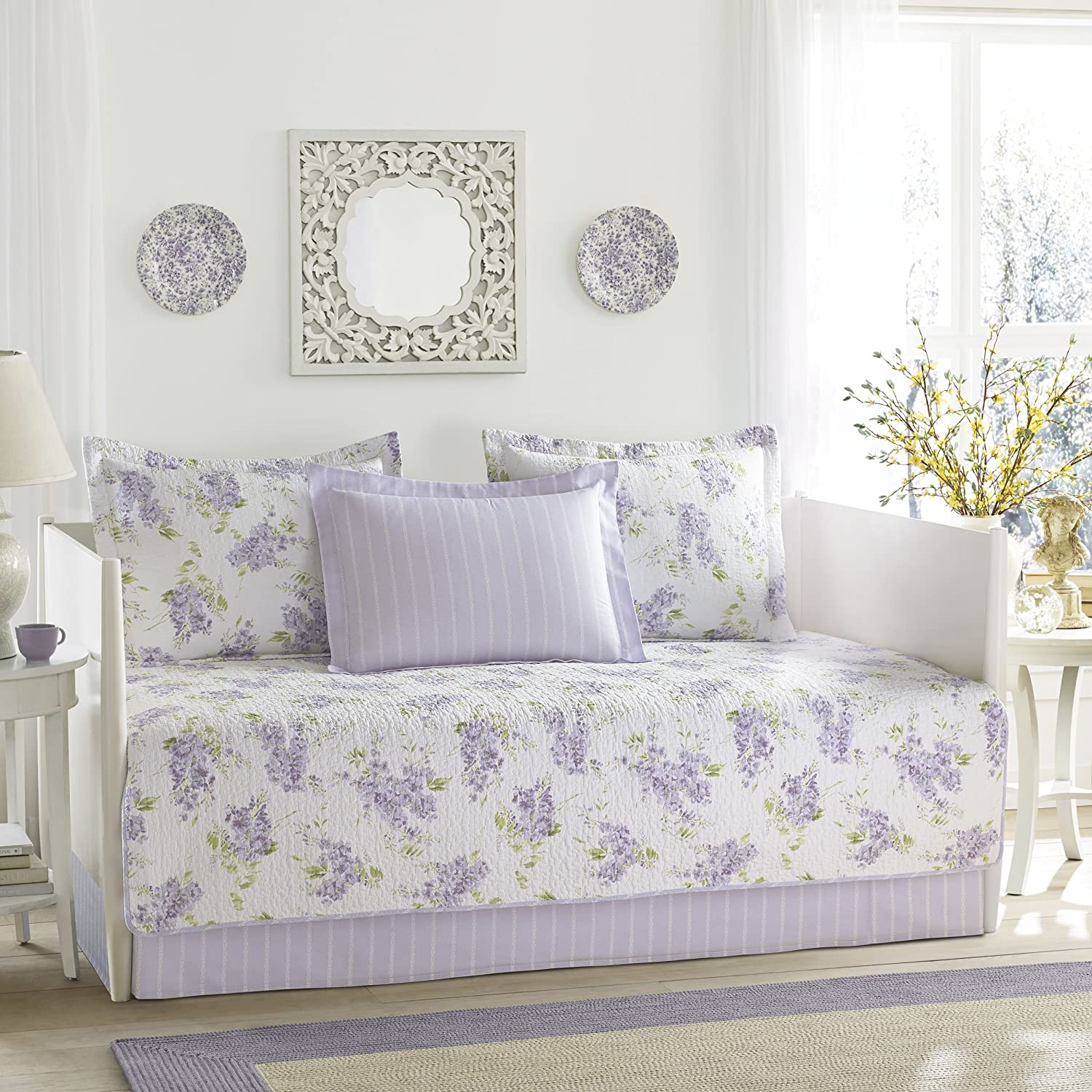 Laura Ashley Keighley 5-Piece Daybed Cover Set, Twin, Purple Revman International 225192