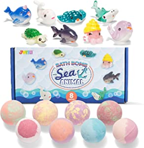 JOYIN Bath Bombs for Kids with Sea Animal Toys, 8 Pack Bubble Bath Bombs with Surprise Toy Inside, Natural Essential Oil SPA Bath Fizzies Set