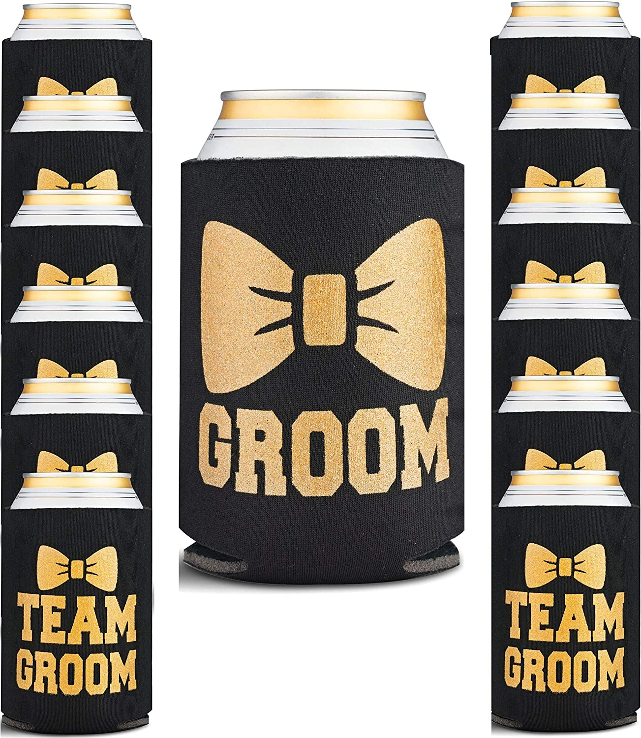 Bachelor Party Decorations for Men - Groomsmen & Groom Beverage Can Cooler Sleeves & Party Game - Bachelor Party Favors for Wedding, Insulated Holders, 13 Pack, Black and Gold