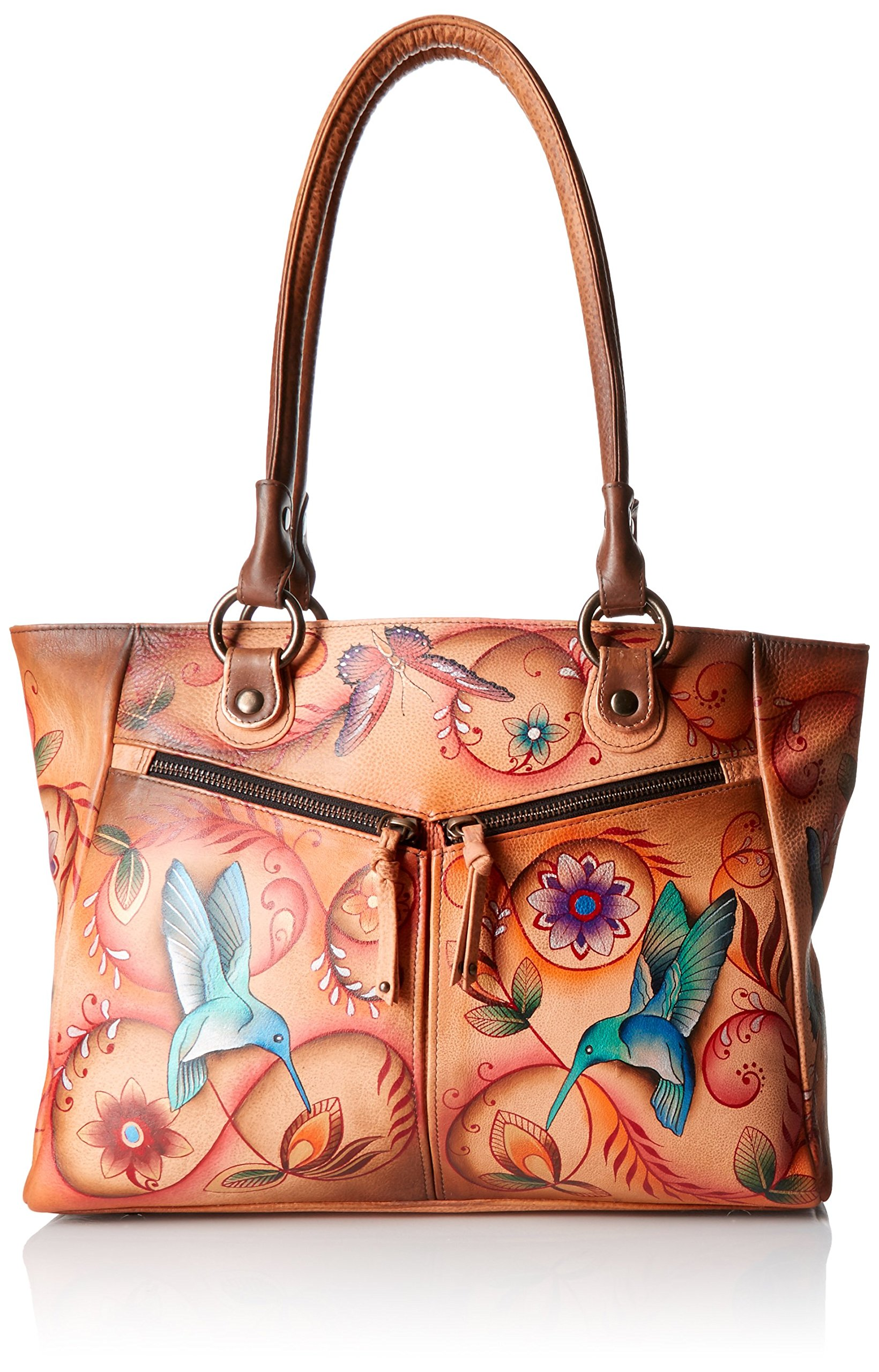 Anuschka Handpainted Leather Large Shopper with Front Pockets, Flying Jewels Tan