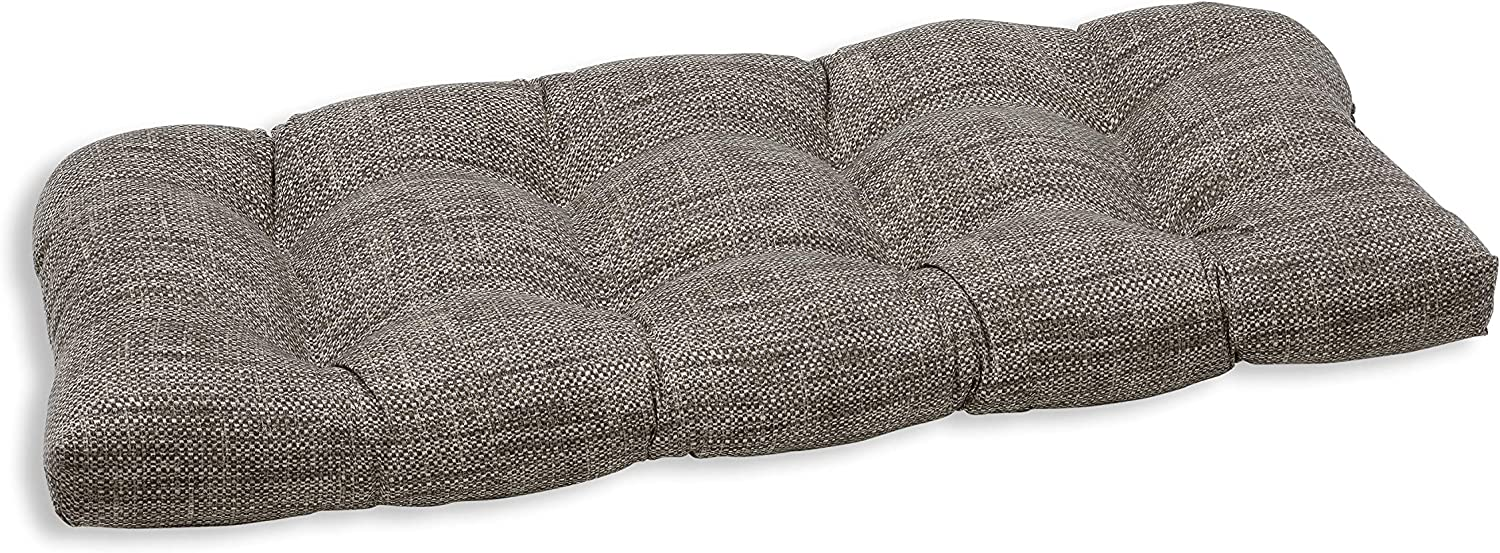 """Pillow Perfect Outdoor/Indoor Remi Patina Tufted Loveseat Cushion, 44"""" x 19"""", Gray"""