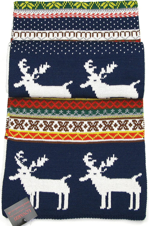 Lovarzi Winter Scarf for Women and Men Reindeer Snowflake Christmas Scarves