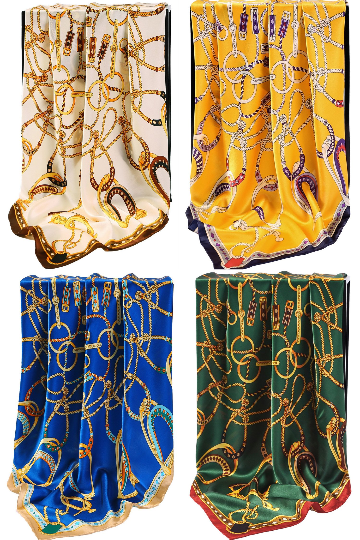 Grace Scarves 100% Silk Scarf With Hand Rolled Edges, Large, Set of 4, Equestrian Yoke by Grace Scarves