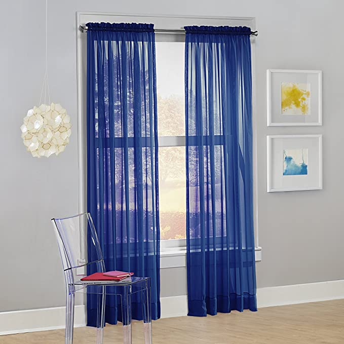 No 918 Calypso Sheer Voile Rod Pocket Curtain Panel 59 X 84 Royal Blue 1 Panel Home Kitchen